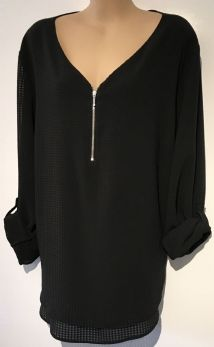 PEACOCKS BLACK WAFFLE ZIP FRONT TOP SIZE 20